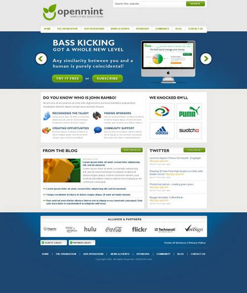 Free Clean and Professional Web Layout PSD: OpenMint