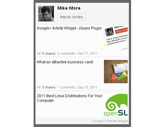Google+ Activity Widget – jQuery Plugin