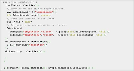 Organizing events with jQuery
