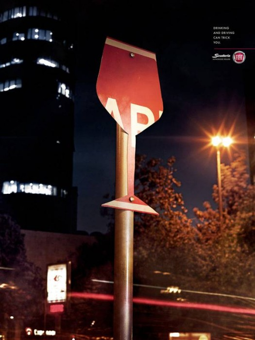 Fiat: Drinking and driving can be tricky Print Ad For Inspiration