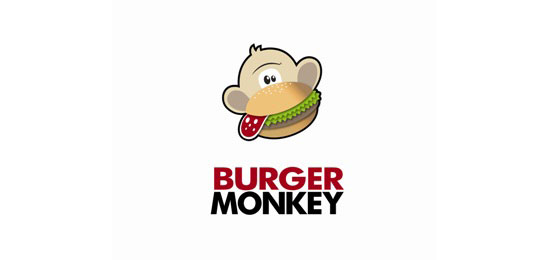 Burger Monkey Food Inspired Logo Design