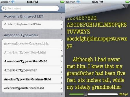 Font Gallery Preview fonts iphone apps