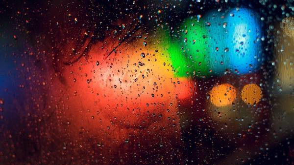 lights rain glass bokeh - Wallpaper