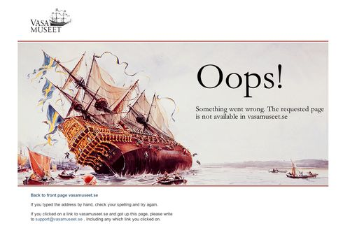 Nice 404 page from The Vasa Museum
