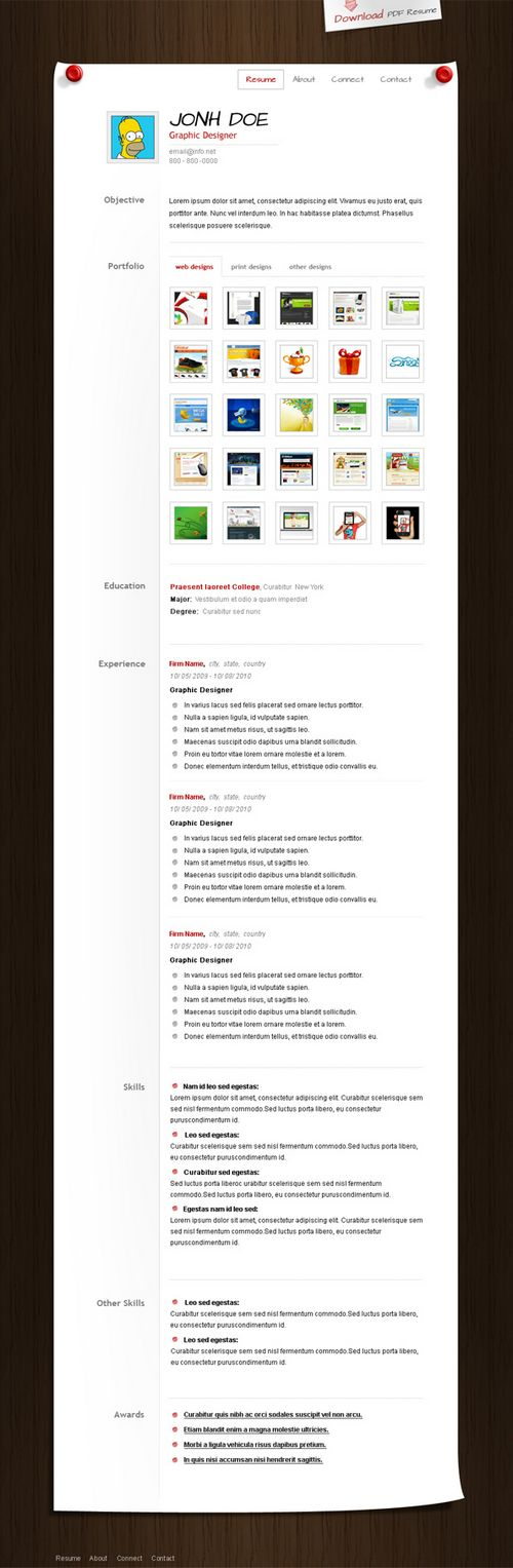 Resume / CV PSD Template