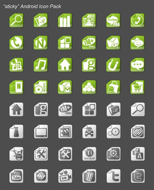 sticky android icon pack