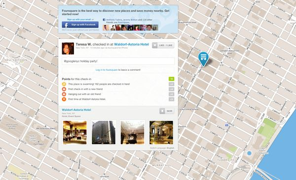 Checkin Information from Foursquare