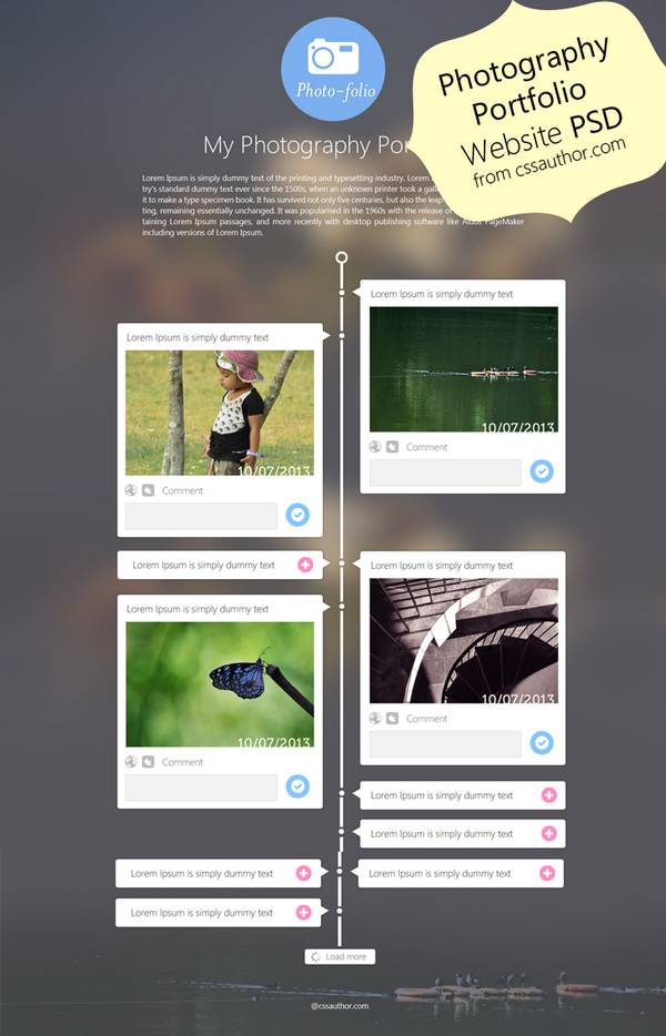 Photography Portfolio Website Template Design PSD