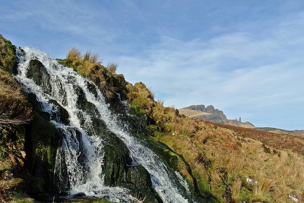 Waterfall and Old Man of Storr