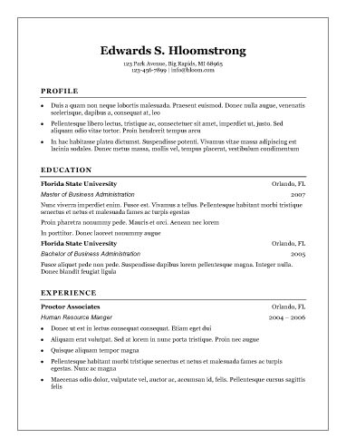 Free Resume Templates For Microsoft Word  Sample Resume And Free