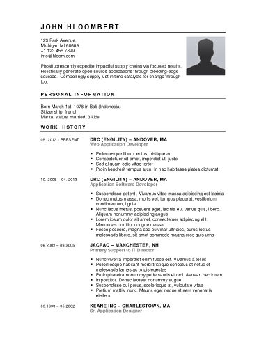 button down free resume templates - Free Resume Template For Microsoft Word