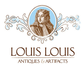 louis louis - antiques and artifacts logo with human face