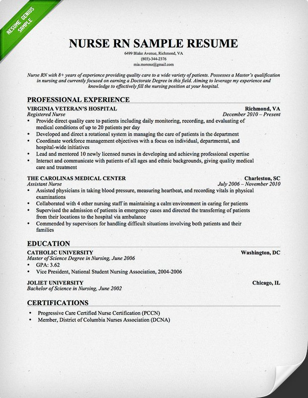 Rn Resume Templates. Registered Nurse Resume Templates Resume