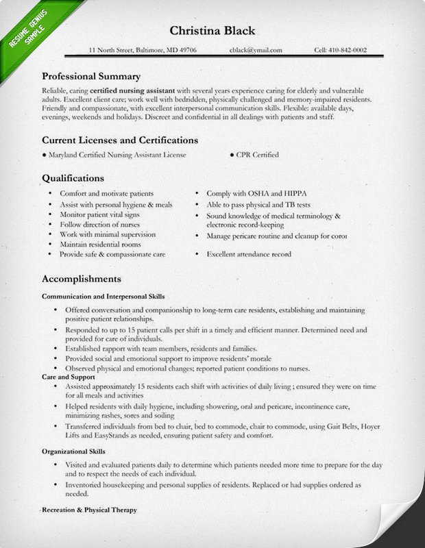 certified nursing assistant resume sample nursing resume template free web resources - Cna Template Resume