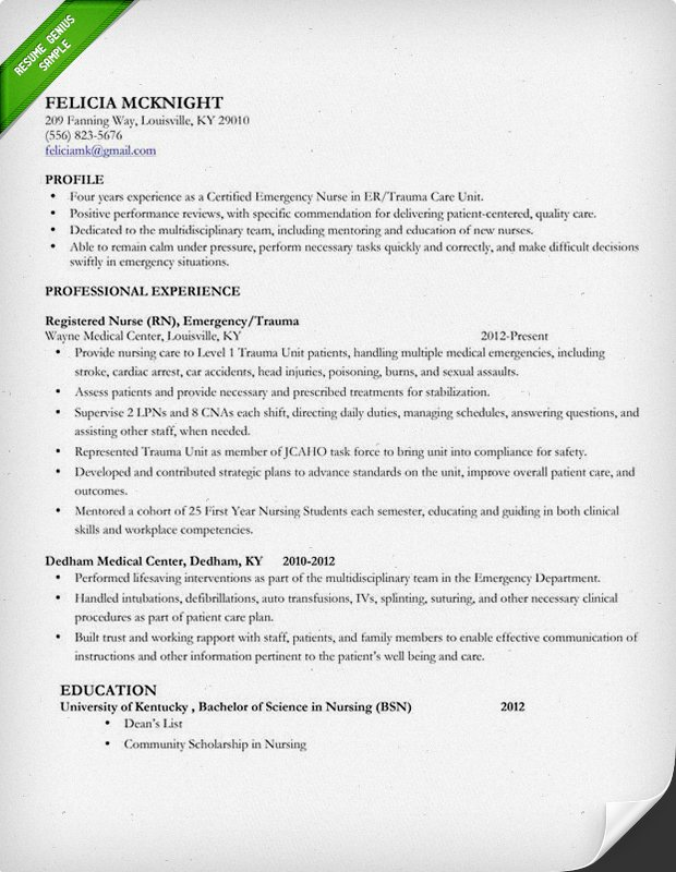 nursing resume template free web resources - Best Professional Resume Samples