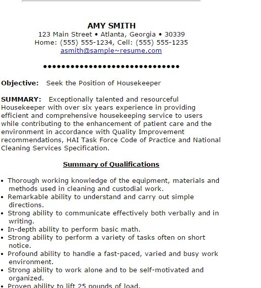 Housekeepers Resume. Unforgettable Housekeeper Resume Examples To