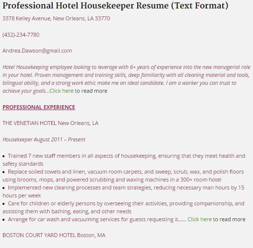 7-housekeeping-resume