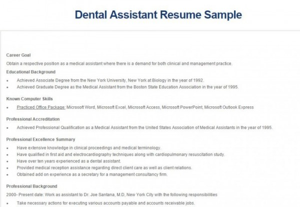 Resume Examples For Dental Assistants | Resume Examples And Free