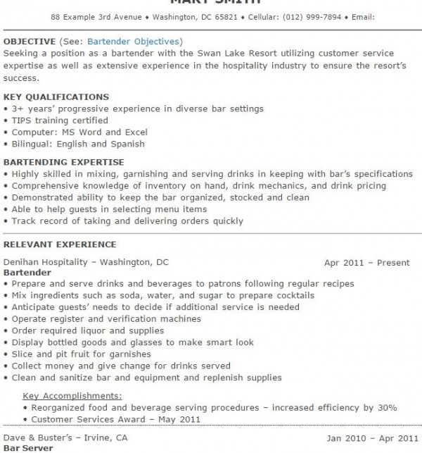 Surprising Bartender Resumes  Resume Example Resume Example