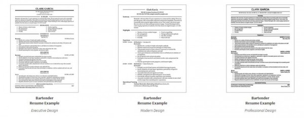 3 bartender sample resumes tips