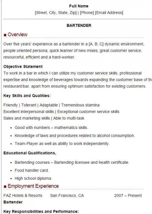 sample bartender resume - Bartender Resume Example