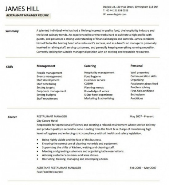 3 restaurant manger resume sample
