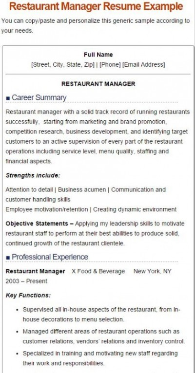 5 restaurant manger resume sample