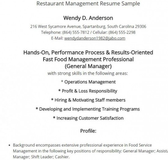 Sample Resume Management Position Restaurant