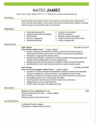 Teacher Resume Templates Resume Teacher Template For Ms Word