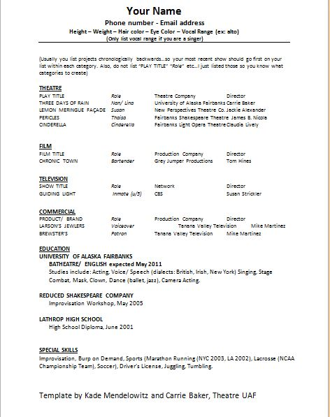 Young Actor Resume Template. 1000 Images About Resume Examples On
